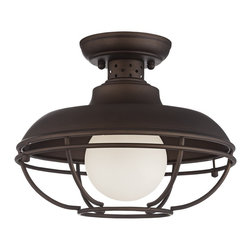 "Franklin Iron Works - Contemporary Franklin Park Metal Cage 12"" Wide Bronze Ceiling Light - Use this flushmount ceiling light anywhere for a vintage inspired look that matches any style of decor. A warm oil-rubbed bronze finish complements the industrial metal cage creating a sense of distinct elegance for your home. From Franklin Iron Works™. Oil-rubbed bronze finish. Metal cage. For both indoor and outdoor use. Takes one 60 watt medium base bulb. 12"" wide. 10"" high.  Oil-rubbed bronze finish.  Metal construction.  Cage design.  For both indoor and outdoor use.  Damp location rated only.  Maximum 60 watt or equivalent bulb (not included).  12"" wide.  10"" high.  Canopy is 5"" wide."