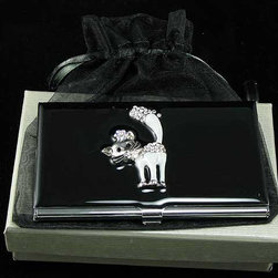 Belle Fashion - 3.75 Inch Black Business Card Holder with Enameled and Rhinestone Cat - This gorgeous 3.75 Inch Black Business Card Holder with Enameled and Rhinestone Cat has the finest details and highest quality you will find anywhere! 3.75 Inch Black Business Card Holder with Enameled and Rhinestone Cat is truly remarkable.