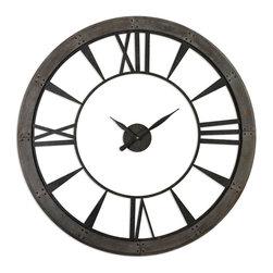 Large Rustic Bronze Ronan Wall Clock, - *Dark, Rustic Bronze Finish Accented With A Rust Gray Frame. Quartz Movement.