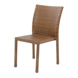 Panama Jack - Panama Jack St. Barth's Stackable Dining Side Chair - Escape to your very own Caribbean paradise with The St Barth's collection by Panama Jack. The Side Chair incorporates an extruded aluminum frame with an exclusive thick woven wicker fiber from Viro and is stackable for easy storage. Due to the thick woven wicker fiber cushions are not needed. They can be purchased separately in Sunbrella fabric for all year round outdoor use and they come in a variety of colors and patterns to match your outdoor decor. It can be paired with other items in this collection to create the ultimate Caribbean paradise in your home patio. The St. Barth's collection by Panama Jack incorporates an extruded aluminum frame with an exclusive thick woven wicker fiber from Viro. The arms on the lounge chair and loveseat are thick and provide a comfortable arm rest. Fast drying cushions with outdoor polyester fabric are included and are suitable for all year around use outdoor.More than three decades ago the Original Panama Jack suncare products were quietly introduced on Florida's beaches. Word gets around in a beach town. Like the sand in their shoes and the sunset memories in their minds loyal locals and visitors alike took Panama Jack home with them to Main Street America and to the world. Since those early days Panama Jack established a following that extends far beyond stretches of pure white sand. Made with Love Care and Pride since 1974 Panama Jack is committed to bringing the feeling of escape fun adventure and the lifestyle of the tropics to people everywhere. They will continue to deliver products that provide you with even more freedom to enjoy what's most meaningful to you and your family. Features include Outdoor Stackable Side Chair Constructed of extruded aluminum frame that will not rust Weather and UV resistant Fully Assembled Stackable Design Can be used indoors or outdoors. Specifications Finish: Brown Pine Construction Material: Extruded Aluminum Frame w/ Viro