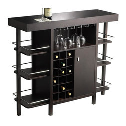 Sunpan Imports - Philmore Bar with Wine Rack & Shelves with Gallery Rails - Dark Espresso finish. Storage for wine and spirit bottles. 5 mm tempered black glass top. Made of birch wood and veneer. Assembly required. 48 in. W x 16 in. D x 41.5 in. H. Top 2 Side Shelves: 10.75 in. W x 13 in. D x 9.5 in. H. Bottom Shelf: 10.75 in. W x 13 in. D x 12 in. H