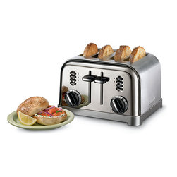 Cuisinart - Cusinart CPT-180BCHFR Metal 4-slice Black Chrome Toaster (Refurbished) - Toast the perfect slice of toast with a toaster from CuisinartKitchen appliance has a 4-slice capacityToaster has a brushed stainless steel housing with black trim accents and black control buttons