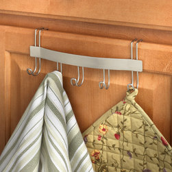 Kitchen Storage & Organization - Keep towels, pot holders, keys and other small items organized while adding a modern flair to your home with Spectrum's Contempo Over the Drawer/Cabinet Hook Rack. The bracket easily slides onto standard cabinet doors or drawers. Made of sturdy steel, this hook rack is perfect for kitchen and bathroom organizing.