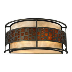 Z-Lite - Z-Lite Milan Wall Sconce X-SW05-41Z - The Oak Park family finished in Java Bronze offers clean lines with simple, geometric forms to show true craftsman's styling. This 2 Light Wall sconce is finished in Java bronze paired with White and Amber Micca.