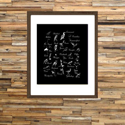 Birds Alphabet - Nursery Wall Art - 11x14 in. on premium matte archival paper. frame not included. customizable color.