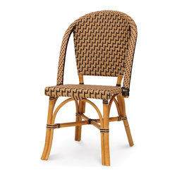 Palecek - Patio Paris Bistro Chair - Pole rattan frame and legs. Body woven with high quality UV resistant plastic. Available only as shown.
