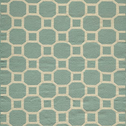 Laguna LG-01 Aqua Rug - 2'x3' - Geometric patterns, vibrant colors and chic simplicity all collaborate to make the flat-weave Dhurry collection, Laguna. Made in India of 100% wool, Laguna utilizes a vibrant color palette that plays off geometric patterns often found in paving stones, basket weaves and nature.