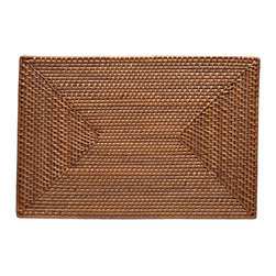 "Kouboo - Rectangular Rattan Placemat Set of 2, Honey Brown - This hand-woven rattan placemat is done ""Hapao style,"" meaning a tight, intricate weave initially created in the Philippines to ensure durability and beautiful longevity. Finished with a coating of clear lacquer for easy clean-up, this rectangular rattan placement is a beautiful addition to your table for family and guests alike.1 year limited warranty."