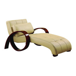 Global Furniture USA - Global Furniture USA Chaise Lounge in Cappuccino - Global Furniture USA - Chaise Lounges - R963RLX - A perfect place to relax and a great focal point in your living room this contemporary chaise sits on beautifully curved mahogany legs.