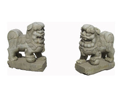 "Golden Lotus - Pair Chinese Antique Hand Carving Marble Fen Shui Foo Dogs - This is a beautiful pair of white stone foo dog.  Its carving is very detail, even their paws, bodies, and face. You can put this pair of foo dog at the front of your house or garden.  In Chinese culture, the ""Fen Shui"" foo dog can protect the people who are living the house."