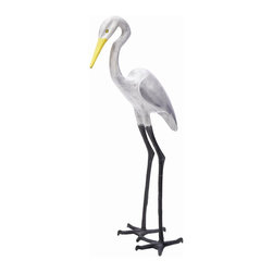Achla - Great Egret II Garden Statue in Black, White, - Carefully crafted from all weather aluminum, this Great Egret II garden statue is ideal for any outdoor area. Lifelike bird statue has a white finish accented with black and yellow highlights. Use in your backyard, next to a birdbath and wherever else you want. Black, White, & Yellow Aluminum finish. 39 in. H