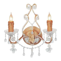 Crystorama - 2-Lights Wall Sconce Adorned with Crystal - Paris Flea Collection offers casual yet elegant, whimsical and chic wall sconces.
