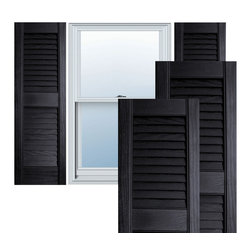 """Alpha Systems LLC - 12"""" x 39"""" Premium Vinyl Open Louver Shutters,w/Screws, Black - Our Builders Choice Vinyl Shutters are the perfect choice for inexpensively updating your home. With a solid wood look, wide color selection, and incomparable performance, exterior vinyl shutters are an ideal way to add beauty and charm to any home exterior. Everything is included with your vinyl shutter shipment. Color matching shutter screws and a beautiful new set of vinyl shutters."""