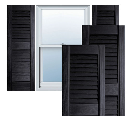 "Alpha Systems LLC - 12"" x 39"" Premium Vinyl Open Louver Shutters,w/Screws, Black - Our Builders Choice Vinyl Shutters are the perfect choice for inexpensively updating your home. With a solid wood look, wide color selection, and incomparable performance, exterior vinyl shutters are an ideal way to add beauty and charm to any home exterior. Everything is included with your vinyl shutter shipment. Color matching shutter screws and a beautiful new set of vinyl shutters."