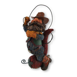 Zeckos - Whimsical Cowboy Riding Chili Pepper Twirling Lasso Statue - Yee haw This whimsical bearded cowboy ropes and rides a fierce red chili pepper Twirling and looping his lasso, he tempts to tame the wild capsicum This amusing statue is made from cold cast resin, and looks just like it was carved from wood Carefully hand-painted, this cowboy has a rosy face, a twisted metal lasso and boots with spurs It stands 12 1/2 inches high, 7 inches long and 6 inches wide. This cowboy would be a fun touch in any kitchen, a conversation starter in the family room, or dress-up a shop or cafe window