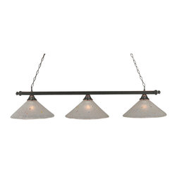 """Toltec - Toltec 803-BC-711 Black Copper Finish 3-Light Square Bar - Toltec 803-BC-711 Black Copper Finish 3-Light Square Bar with 16"""" Frosted Crystal Glass Shade"""