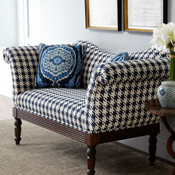 Horchow - Indigo Houndstooth Settee - Handcrafted settee features classic houndstooth-patterned upholstery, fluted apron, and turned legs and comes with two decorative throw pillows. Made in the USA. Hardwood frame with hand-painted finish. Settee upholstered in cotton; throw pillows made...