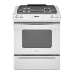 """Whirlpool - GW397LXUQ Gold Series 30"""" Slide-In Gas Range With 4 Sealed Burners  4.5 Cu. Ft. - This self-cleaning slide-in gas range offers 45 cu ft of oven space The AccuBake temperature management system provides consistent cooking temperatures while a Keep Warm setting maintains serving temperatures On top 4 burners ignite electronically A ..."""
