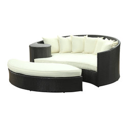 Modway Furniture - Modway Taiji Daybed in Espresso White - Daybed in Espresso White belongs to Taiji Collection by Modway Harmonize inverse elements with this radically pleasing daybed set. Seven plush throw pillows adorn Taiji's thick all weather orange cushions allowing for the splendorous blending of mediating elements. Find the key to attainment as you bask in a charged and unified landscape of expansiveness. Set Includes: One - Taiji Outdoor Wicker Patio Daybed One - Taiji Outdoor Wicker Patio Ottoman Seven - Taiji Outdoor Wicker Patio Throw Pillows Daybed (1), Ottoman (1)