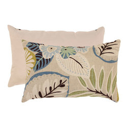 Pillow Perfect - Beige and Blue Tropical Rectangular Throw Pillow - - Cotton Texture  - 100% Virgin Recycled Polyester Fill  - Sewn Seam Closure  - Spot Clean Only  - Made In USA  -Please note that image shows front and back of pillow. Only one pillow is being sold. Pillow Perfect - 475219