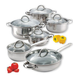 Cook N Home - Cook N Home 12-Piece Stainless Steel Set, NC-00250 - 12-Piece stainless steel cookware set includes 1.1/2-Quart sauce pan with lid; 1.1/2-Quart casserole with lid; 2-Quart casserole with lid; 3-Quart casserole with lid; 5.1/2-Quart stock pot with lid; 10-Inch fry pan with lid.