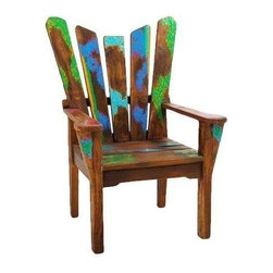 "Pre-owned Dock Holiday Reclaimed Wood Arm Chair - The Dock Holiday Chair has a regal yet relaxed profile, turning a backyard deck into a pastoral scene. The reclaimed wood show its true age, with hints of color from past lives highlighting the angled back and seat. A chic companion for times of conversation or contemplation.    Benefits:    The Dock Holiday Arm Chair is handmade from the wood of tropical fishing boats and iron from yesterday's bridges. Our pieces, large and small, are playful, due to the color and weathering inherent in each boat we buy; sophisticated by nature of our in-house design team, and made to last a lifetime: We use only the highest-quality fishing-boat teak.    Care, cleaning and technical information:  Highly durable marine grade wood is perfect for both indoor and outdoor use. We have treated this item with a water based organic semi-gloss finish therefore cleaning is very simple.  Low in harmful VOC's (volatile organic compounds) it is comparable to oil-based varnish for its high resistance to abrasion, water and solvents. This item cleans up easily with soap and water. As it cures, the molecules become cross linked in a lattice-like pattern that is much more durable than the single-strand bonds formed by conventional water-based finishes. This makes it a good choice for high-wear interior applications such as tabletops. It will have a very slight shine to it.     Number of pieces included: 1    Additional Dimensions:   Seat Height 17""       Back Rest Ht 23""       Arm Ht from Seat 7""            Arm Ht from Floor 24""    Color: Wood is a natural material that varies in color, grain pattern and over-all appearance and texture. While our product images are intended to represent a wide spectrum of a materials and meant to display various characteristics, they do not show all variations. Each piece has its own individual characteristics; no item is exactly the same although we do keep the colors schemes consistent. The wood grain and coloring do vary slightly."