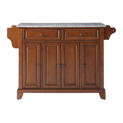 Crosley - Newport Solid Granite Top Kitchen Island in Classic Cherry Finish - Constructed of Solid Hardwood and wood veneers, this kitchen island is designed for longevity. The Beautiful raised panel doors and drawer fronts provide the ultimate in style to dress up your kitchen. Two deep drawers are great for anything from utensils to storage containers. Behind the four doors, you will find adjustable shelves and an abundance of storage space for things that you prefer to be out of sight. Style, function, and quality make this kitchen island a wise addition to your home.