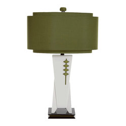 Bungalow Belt - High Roller Lamp - The Jetsons meet Mad Men in this sleek rendition of a midcentury modern lamp. Engineered wood forms the angular base, painted in a glossy, off-white finish with accents in olive green and black. The two-tiered, oval shade features a silken green fabric, and a coordinating green finial provides the crowning glory.
