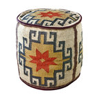 Kathy Kuo Home - Mount Fray Cream Colored Round Rustic Ottoman - This kilim-covered ottoman serves a number of purposes in your house. You can use it as a footrest, side table or group some together to create a coffee table. When not in use, you can stash it in a corner or beneath a larger table.