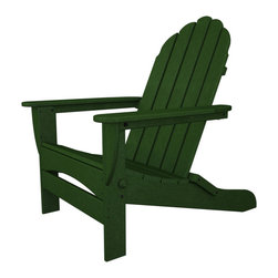 Polywood - Eco-friendly Curve Back Chair in Green - Solid, heavy-duty construction withstands natures elements. We all need our space every now and then. Find yours in the roomy Polywood Classic Oversized Curve back Adirondack. While this chair has the classic good looks you expect from an Adirondack. Polywood lumber requires no painting, staining, waterproofing, or similar maintenance. Polywood lumber does not splinter, crack, chip, peel or rot and it is resistant to corrosive substances, insects, fungi, salt spray and other environmental stresses.