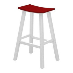 POLYWOOD® Contempo 30 in. Saddle Bar Stool - The colorful POLYWOOD Contempo 30 in. Saddle Bar Stool is a smart and stylish way to bring contemporary comfort and style to your patio deck or outdoor space. Constructed from 90% recycled materials this handsome saddle stool features a high-quality aluminum frame. Designed to endure harsh weather conditions this durable HDPE polywood stool will adorn your home without splintering cracking chipping peeling or rotting. Polywood uses unique plastic lumber making and furniture fabricating technologies. Polywood furniture is backed by a 20 year limited residential warranty. Crafted for comfort as well as style this sleek alfresco bar stool features a smooth design with a curved seat you could spend a whole summer's day in. The polywood lumber construction eliminates the need for painting staining or waterproofing and makes for an easy-to-sleep surface that wipes dry. Choose from a variety of colors for the seat that best complements your home. Please note: Warranty applies to residential use only. About Poly-WoodThe advantages of Poly-Wood Recycled Plastic are hard to ignore. Poly-Wood absorbs no moisture and will NOT rot warp crack splinter or support bacterial growth. Poly-Wood is also compounded with permanent UV-stabilized colors which eliminates the need for painting staining waterproofing stripping and resurfacing. This material is impervious to many substances including salt water gasoline paint stains and mineral spirits. In addition every Poly-Wood product comes with stainless steel hardware. Poly-Wood is extremely easy to clean and maintain. Simple soap and water is all you need to get rid of dirt and make your furniture look new again. For extreme cleaning needs you can use a 1/3 bleach and water solution. Most Poly-Wood furnishings are available in a variety of classic colors which allow you to choose your favorite or coordinate with the furniture you already have. This is sure to be a piece that you will be proud