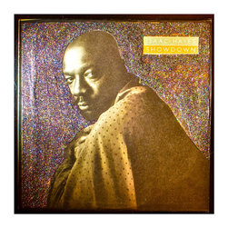 """Glittered Isaac Hayes Album - Glittered record album. Album is framed in a black 12x12"""" square frame with front and back cover and clips holding the record in place on the back. Album covers are original vintage covers."""