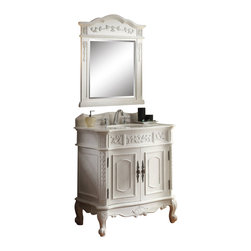 """Unique Classic Benson Bathroom Sink Vanity/ Mirror incl 33"""" - The warm appeal of this antique white Benson bathroom sink vanity works well in any design space. The porcelain sink and detailed scroll work add charm and sophistication to this bathroom cabinet. Adding the matching mirror and the back splash will enhance appearance of a bygone era. It brings functionality and warmth to your home."""