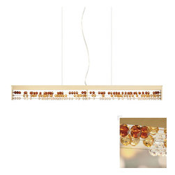LBL Lighting - Roka -  LED Suspension Lamp | LBL - LBL Lighting Roka EF673�_LED Suspension Lamp features a�_linear suspension with brilliant colored crystal beads reminiscient of an abacus. Manufacturer:�_LBL LightingSize:�_36 in. length x 3.4 in. height x 72 in. field-cuttable aircraft cable. Light Source:�_1 x 12 watt 120V [2700K] LED module - included Certifications: UL Location:�_Dry Dimmable�_with a low-voltage electronic dimmer or universal dimmer - not included