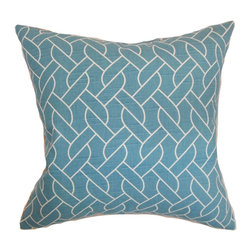 """The Pillow Collection - Neptune Geometric Pillow Aquamarine - Stylize your home with this sleek throw pillow. This accent pillow is a definite must-have for your interiors. Create a relaxing twist by tossing in this square pillow on top of your sofa, bed or seat. This 18"""" pillow is made from 100% soft cotton fabric. This pillow is perfect for contemporary, modern and other decor styles. Hidden zipper closure for easy cover removal.  Knife edge finish on all four sides.  Reversible pillow with the same fabric on the back side.  Spot cleaning suggested."""
