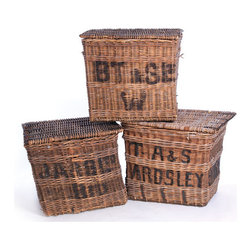 Go Home - Go Home Vintage Laundry Factory Basket - Bring an element of fascination and character into your home with this European country collections set of three Vintage Laundry Factory Baskets. A perfect space for storing pillows, blankets and other stuff, these baskets are made up of wicker and hence displays the glorious vintage appeal.