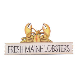 """Handcrafted Nautical Decor - Wooden Fresh Maine Lobster Sign 17"""" - Decorative Beach Sign - This Wooden Fresh Maine Lobster Sign 17"""" is a great addition to a beach themed home. Perfect for welcoming friends and family, or to advertise a festive party at your beach house, bar, or restaurant, this sign is sure to brighten your day. Place this beach sign up wherever you may choose, and enjoy its wonderful style and the delightful beach atmosphere it brings."""