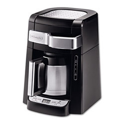 DELONGHI - 10-Cup Frontal Access Coffee Maker, Black - Easily fill the water tank and ground coffee filter without moving the unit. 24 hour programmable digital timer with 2 hour automatic shut-off. Water level indicator lets you know when the unit needs refilling. Double-wall thermal carafe features unique vacuum-sealed design that retains heat, to keep coffee hot for hours. Aroma button activates a unique brewing process that enhances the flavor and aroma of your coffee. Gold tone filter keeps even the finest grounds out of your coffee. Number of Cups: 10; Number of Burners: N/A; Warmer: N/A; Capacity (Volume): N/A.