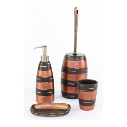 Gedy - Magnolia Round Bronze Bathroom Accessory Set - Stylish, trendy 4-piece bathroom accessory set which includes toothbrush holder, soap dispenser, toilet brush, and soap dish.