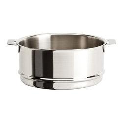 "Cristel - Cristel Strate L Brushed Stainless Steamer Insert 5.51"" - The base is made out of an alloy of stainless steel and aluminum. The heat is simultaneously spread over the whole surface of the base and sides. For gentle, economic cooking with no risk of sticking and protecting all the nutritional qualities of food. Multicooking: suitable for all cooking cooktops; can also be placed on the oven (with or without the lid). Body in 18/10 brushed finish stainless steel. Handles in comfortable stainless steel, welded to the saucepans and riveted to the pans. Can be hung up by the handle for easy storage.Inside grading. Dishwasher safe.. Made in France."