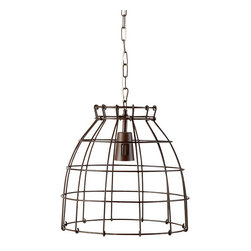 Pendant Cage Lamp - This pendant light is unique looking. It reminds me of a lobster cage for some reason. I'm not sure if that's because it really looks like one or if I'm just craving summer lobster. This would be a great lighting solution for an informal porch.