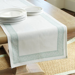 Ballard Designs - Edie Block Print Table Runner - Made of 100% cotton. Colors coordinate with our Brigitte Dinnerware & Serveware. Monogram available.. Monogram will be placed in one corner of the tablecloth. Monogram will be placed in the bottom center of one end of the table runner. With soothing neutral tones and traditional Indian block print motifs, our Edie Block Print Table Linen Collection brings a casual elegance to any table. Available in Oyster, Sage or Spa, each color has its own pattern. Patterns mix and match for a beautifully coordinated look. Edie Block Print Table Linen Collection features: . .  . . . Monogram will be placed in one corner of each napkin. Machine wash.