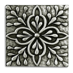 "Compliments Accessories - Fresco Tile - Old world Mediterranean design 1x1"" tile in a Pewter finish"