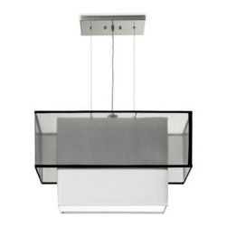 Sharper Image - Sharper Image Rectangular Pendant Lamp with Tiered Black Silk Shade - This compliment-inducing translucent, 2-light bulb pendant lamp features a shimmering black silk shade outside and a textured linen inside. Its neutral color pallet is sure to blend easily into any home decor.
