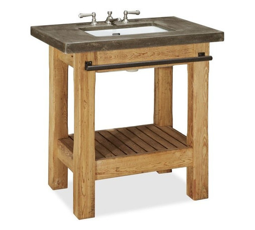 Abbott Single Sink Console - This vanity is the perfect blend of rustic and modern. I especially love the open shelf below and the black towel bar. It's perfect for a small space and packs a lot of style and storage.
