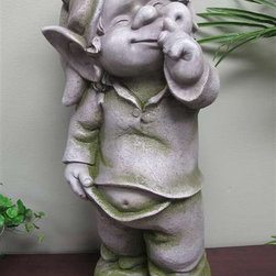 "Garden Statuary, Garden Fairy - 27"" Garden fairy seems to have a secret. Made of a durable and lightweight poly-resin with a mossy concrete finish."