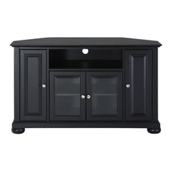 """Crosley - Alexandria 48"""" Corner TV Stand in Black Finish - Enhance your living space with Crosley's impeccably-crafted Corner TV stand. This signature cabinet accommodates most 52 inch flat panel TVs and is handsomely proportioned featuring character-rich details sure to impress. The hand rubbed, multi-step finish is perfect for blending with the family of furniture that is already part of your home. Raised panel doors strategically conceal stacks of CD/DVDs and various media paraphernalia. Tempered beveled glass doors not only add a touch of class; they protect those valued electronic components, while allowing for complete use of remote controls. The open storage area generously houses media players and the like. Adjustable shelving offers an abundance of versatility to effortlessly organize by design, while cord management tames the unsightly mess of tangled wires. Style, function and quality make this cabinet a wise choice for your home furnishings needs."""
