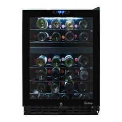 Vinotemp VT-46TS-2ZL 46 Bottle Dual Zone Touchscreen Wine Cooler - Keep your wines ready for any occasion with the Vinotemp VT-46TS-2ZL 46 Bottle Dual Zone Touchscreen Wine Cooler. Convenient and easy to use, this dual-zone, touch-screen wine cooler keeps 46 bottles of wine properly stored at just the right temperature. Pull-out wire shelves make organizing your bottles an easy task. Compact and unobtrusive, the wine cooler's black exterior and dual-paned glass door with recessed handle will fit nicely with just about any decor. With a front exhaust, this cooler can be a built-in or freestanding unit.For more cooling technology information, please see our wine storage tips.About VinotempBased in Southern California since 1985, Vinotemp has proudly crafted custom built wine coolers for some of the finest restaurants and homes in the world. They've sold over 250,000 beautiful wine cellars in the United States and overseas. With a focus on quality, value, and service first implemented by founder Francis Ravel, Vinotemp continues the tradition of creating innovative storage solutions for your fine wine.