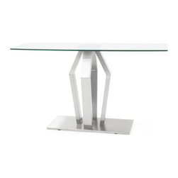 Zuri Furniture - Tempered Glass and Brushed Stainless Steel Aiden Console Table - Crafted for style, the modern Aiden Console Table offers a clear fusion of contemporary beauty and sharp geometric shapes. Aiden features striking structural details with its rectangular tempered glass top and statement-making brushed steel base.