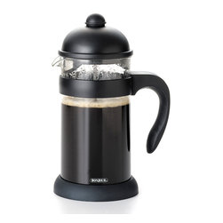 BonJour - Bonjour French Press Unbreakable 8-cup Unbreakable Hugo French Press - Start your day with your favorite gourmet beverage using this black eight-cup French press from BonJour. A unique filtering lid reduces sediment for a more enjoyable cup of coffee, while the shut-off infuser provides enhanced convenience